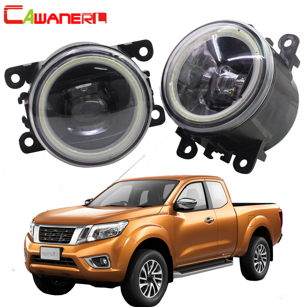 Cawanerl Car LED Fog Light Angel Eye Daytime Running Light For Nissan Navara D40 Pickup 2005