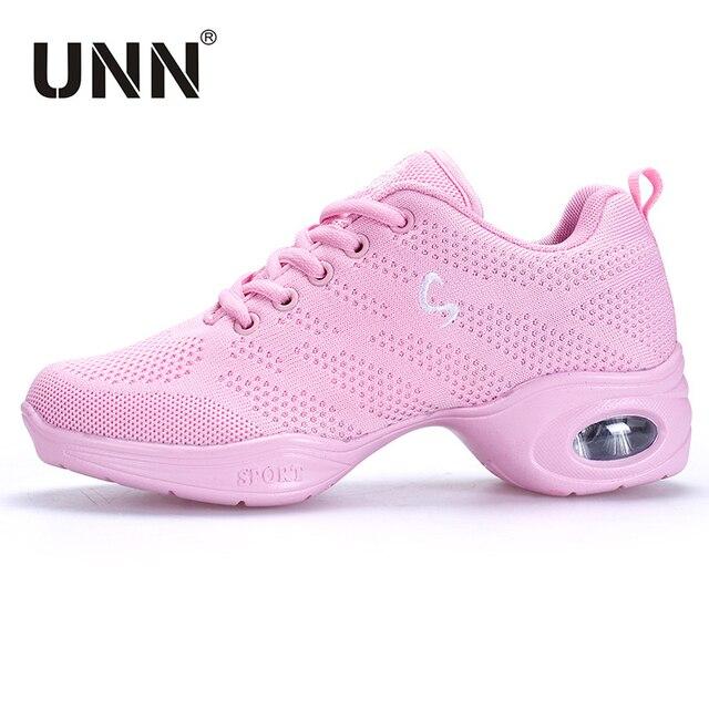 Zapatillas de baile UNN para mujer zapatos Jazz negro transpirable malla  profesional suave suela baile Hip ff307a14a44