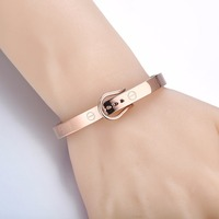 Clasp Belt Buckle Bracelets Punk Women Jewelry Smooth Simply Fashion Gold Color Stainless Steel Belt Cuff