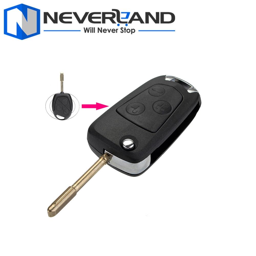Nieuwe vervanging 3 knop flip afstandsbediening auto sleutelhanger case shell voor ford mondeo ka fiesta c
