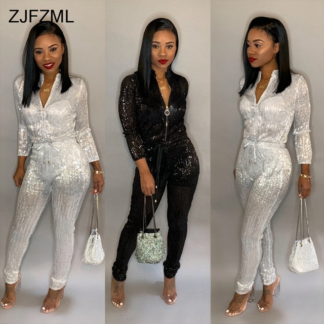 fa0a309260 Bronzing Sexy Rompers Womens Jumpsuit Black Stand Collar Long Sleeve One  Piece Overall Casual White Front Zipper Party Bodysuit