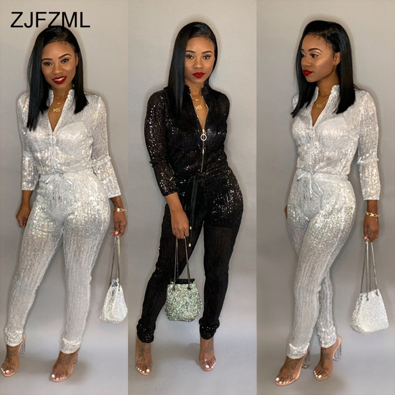 Bronzing Sexy Rompers Womens   Jumpsuit   Black Stand Collar Long Sleeve One Piece Overall Casual White Front Zipper Party Bodysuit
