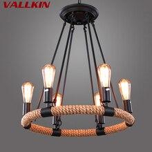 6 огней, чердак, люстры, подвесной светильник, черные железные потолочные лампы для кофе, кабинета, ресторана с лампами Эдисона, VALLKIN