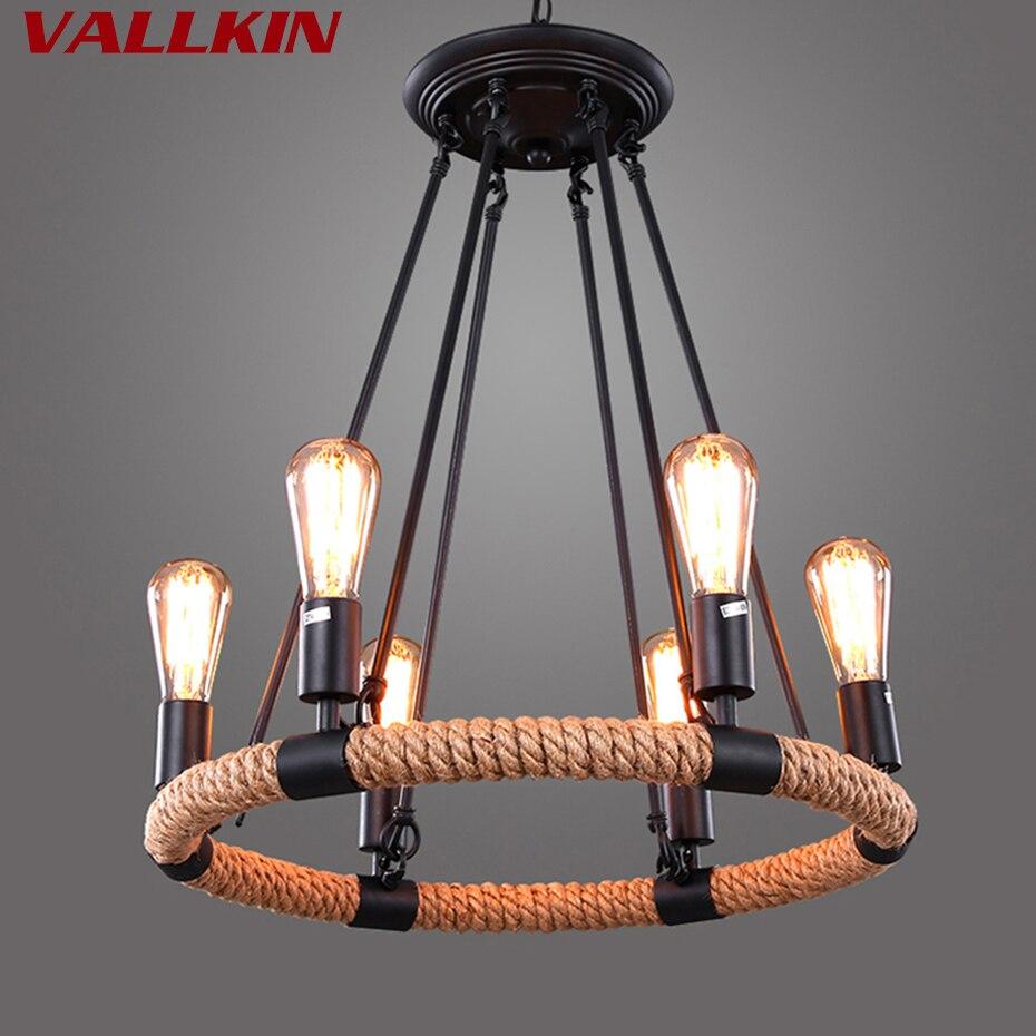 6 Lumières Loft Lustres Pendentif Lampe De Fer Noir Plafond Lampes pour Café Restaurant Étude avec Edison Ampoules VALLKIN