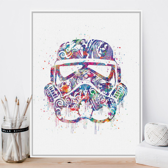 Black White Star Wars Trooper Helmet Mask A4 Pop Movie Art Print ...