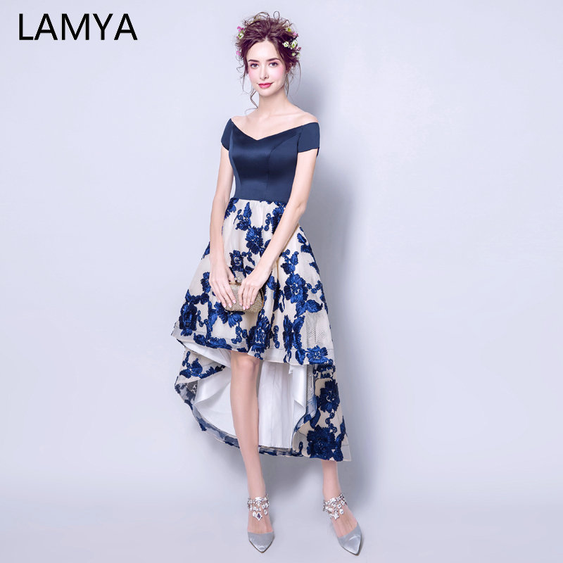 LAMYA V Neck Satin Front Back Long Tail   Prom     Dresses   Vintage High Low Banquet Evening   Dress   2019 Fashion Party Formal Gown