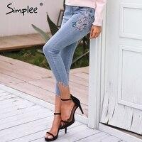 Simplee ציפור רקמה פרחונית מזדמנים נקבת ג 'ינס ג' ינס גבוה מותניים אורך עגל מכנסיים נשים מכנסיים ג 'ינס ארוך כחול אור