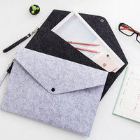 Business Office Bag Briefcase Storage Bag File Wool Felt Folder A4 File Organizer Large Capacity Two Styles Unisex File Package