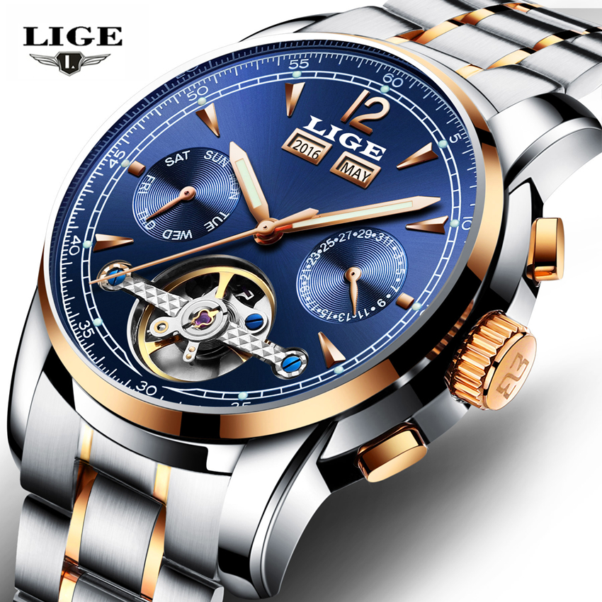 LIGE Skeleton Automatic Watch Men Waterproof Flying Tourbillon Mechanical Watches Mens Self Winding Horloges Mannen Dropshipping 2017 top luxury men watches skeleton analog wrist watch men s mechanical auto self wind dress watch horloges mannen with box
