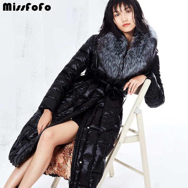 Missfofo 2017, Новая мода Подпушка куртка Для женщин пальто Silver Fox меховой воротник карман на молнии Теплые черные туфли высокого качества Размеры S-XL