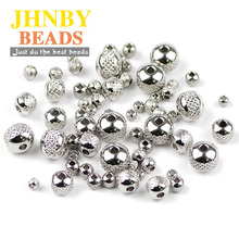 JHNBY Stainless steel Spacer beads ball 3/4/6/8MM Tire 200pcs Metal Round Loose beads for Jewelry bracelets making DIY Findings btfbes 200pcs stainless steel 3 4 5 6 8mm spacer beads round ball metal loose beads for jewelry bracelet making diy accessories
