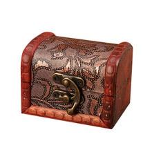 Шкатулка для ювелирных изделий, винтажная деревянная коробка ручной работы с мини-металлическим замком для хранения ювелирных изделий, жемчуга