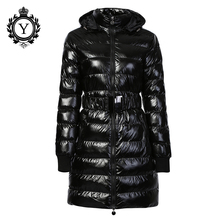 Long Winter Jacket Women Thick Warm Outerwear Down Parkas Female Cotton Padded Shiny Coats Hooded Belted COUTUDI 2019 Brand New apoenge 2017 new women jackets cotton long winter coats female padded cotton parkas warm hooded jacket letter overcoats lz507