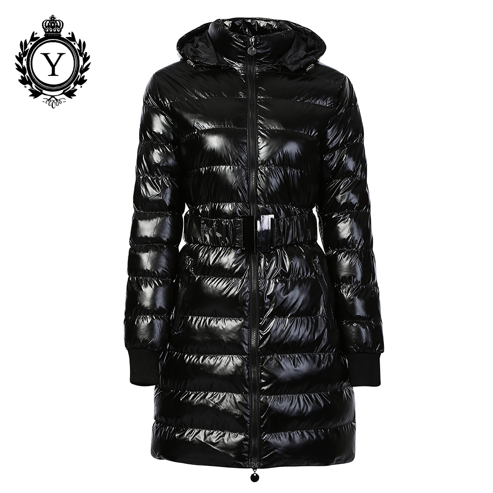 Long Winter Jacket Women Thick Warm Outerwear Down   Parkas   Female Cotton Padded Shiny Coats Hooded Belted COUTUDI 2019 Brand New