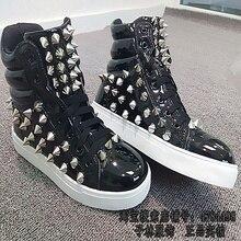 Cool alta zapatos de marea masculina cantante Punk personalidad hip-hop  zapatos de remache botas de cuero de los zapatos de los . 3569e2c8972