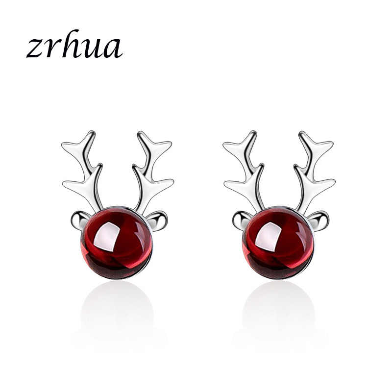 ZRHUA Cute Gorgeous Animal Love Stud Earrings For Women High Quality 925 Silver Original Round Cut AAA Zircon Brinco Bijoux
