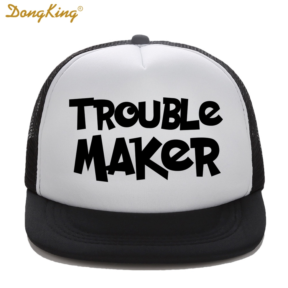 DongKing Kids Trucker Hat Trouble Maker Print Child Baby Son Daughter  Trucker Cap Snapback Baseball Top Quality Cap Sun Gift-in Baseball Caps  from Apparel ... 3852d9bb533
