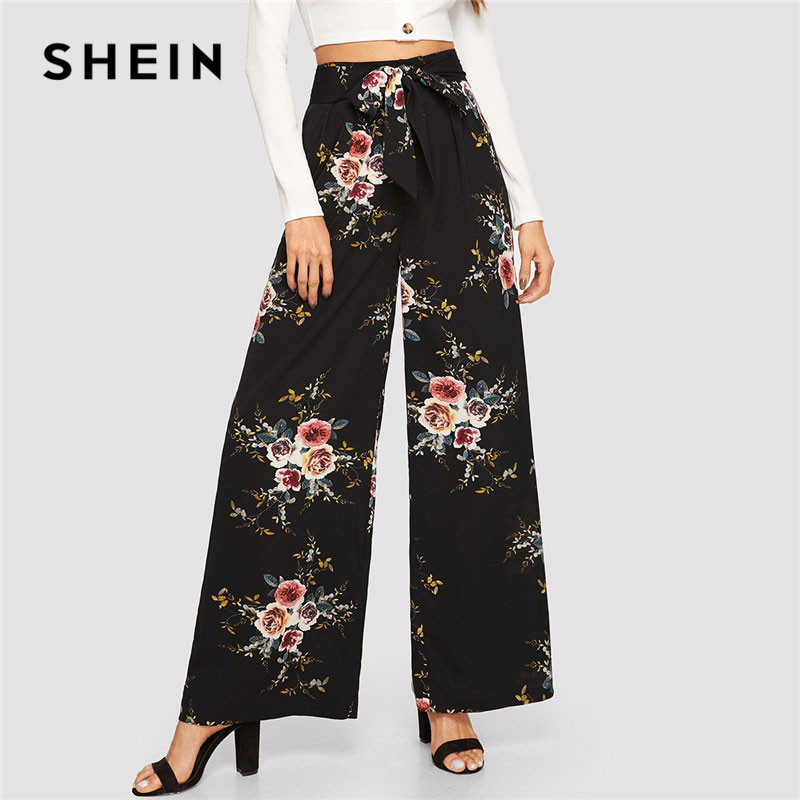 SHEIN Floral Print Belted Palazzo   Wide     Leg     Pants   Women Elegant 2019 Spring Loose Solid Mid Waist High Street Trousers