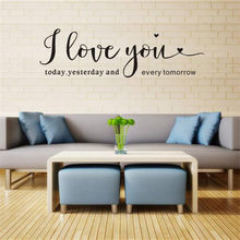 I LOVE YOU Letter Pattern Wall Sticker Removable Art Viny Home Decor living room wall MURAL wall decor Wandaufkleber 18July10(China)