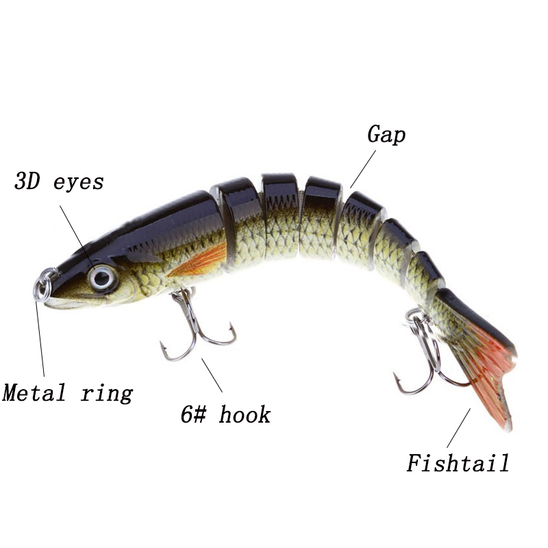 3D Eyes 8 Segments Fish Lures 2 Hooks Sea Fishing Swimbait 12.3cm Artificial Fishing Lure Bait Crankbait Fishing Accessories 1pcs 16 5cm 29g big minnow fishing lures deep sea bass lure artificial wobbler fish swim bait diving 3d eyes