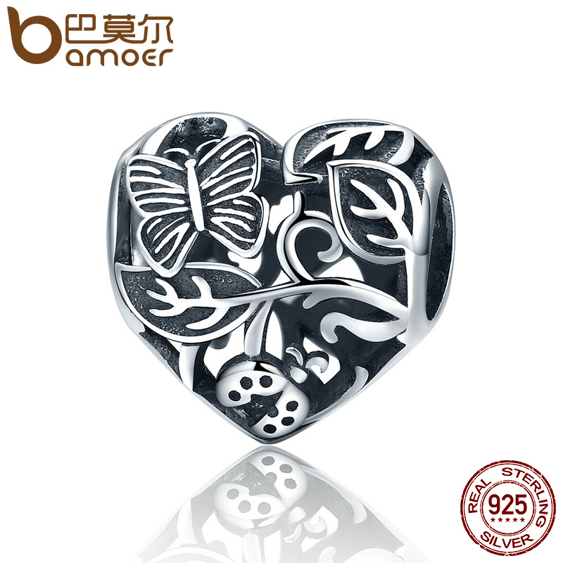 BAMOER Authentic 100% 925 Sterling Silver Butterfly Garden Beads Charms fit Original Charm Bracelet DIY Jewelry Gift SCC155