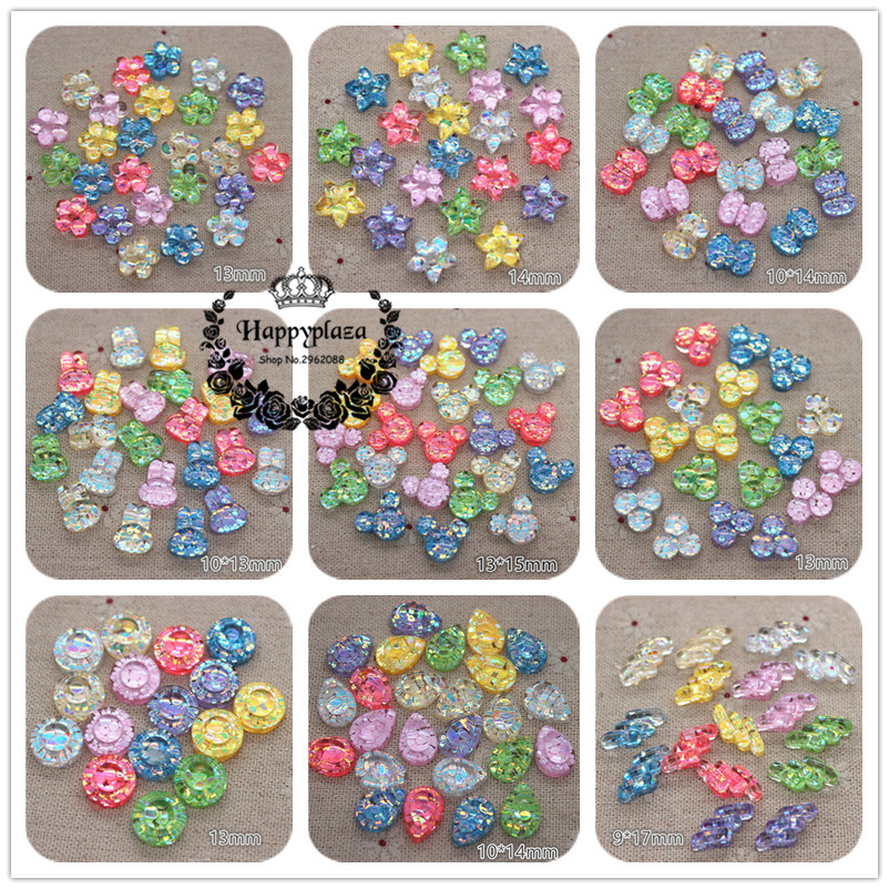 50pcs New Mix Colors Glitter Filled Resin Flower/Bow/Crown/Rabbit/RoundFlatback Cabochon DIY Phone/Craft Decoration