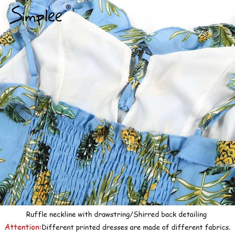 Simplee Fashion wzburzyć smycz na szyje sukienka z nadrukiem kobiety Backless shirred związywane mini sukienka plaża w stylu casual, letnia sukienka z krótkim rękawem vestido