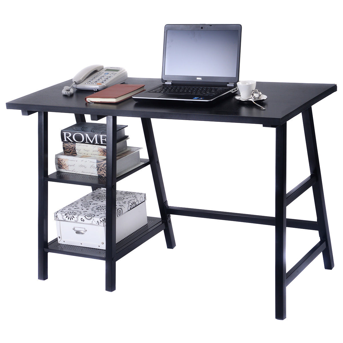 Giantex Modern Trestle Desk Wood Laptop Writing Table with Storage Shelves Home Office Furniture Computer Desk HW51778BKGiantex Modern Trestle Desk Wood Laptop Writing Table with Storage Shelves Home Office Furniture Computer Desk HW51778BK