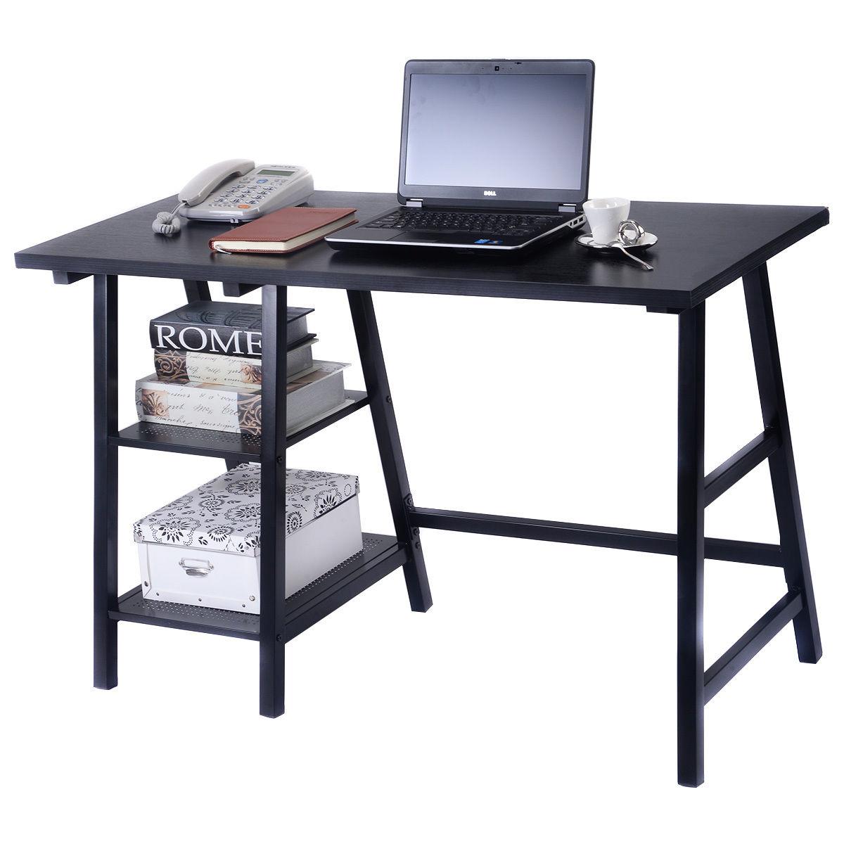 Giantex Modern Trestle Desk Wood Laptop Writing Table With Storage Shelves Home Office Furniture Computer Desk HW51778BK