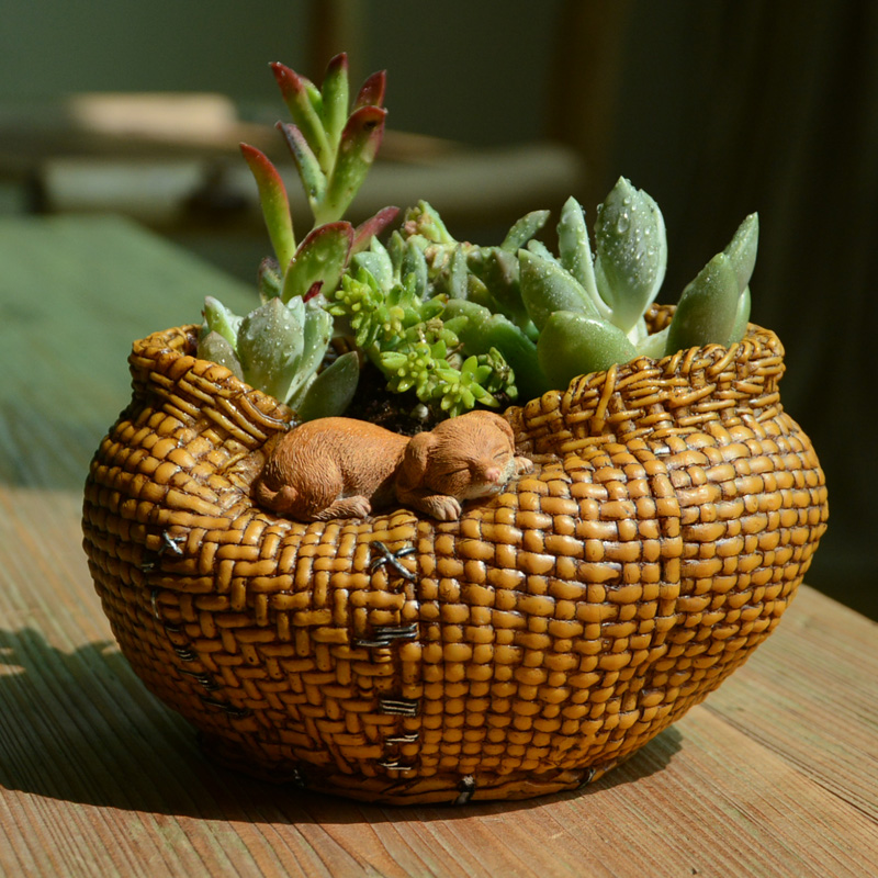 Cute Animal Flower Basket fleshy Flower Pots Resin furnishing articles cane makes up Creative Pastoral Home DecorationCute Animal Flower Basket fleshy Flower Pots Resin furnishing articles cane makes up Creative Pastoral Home Decoration