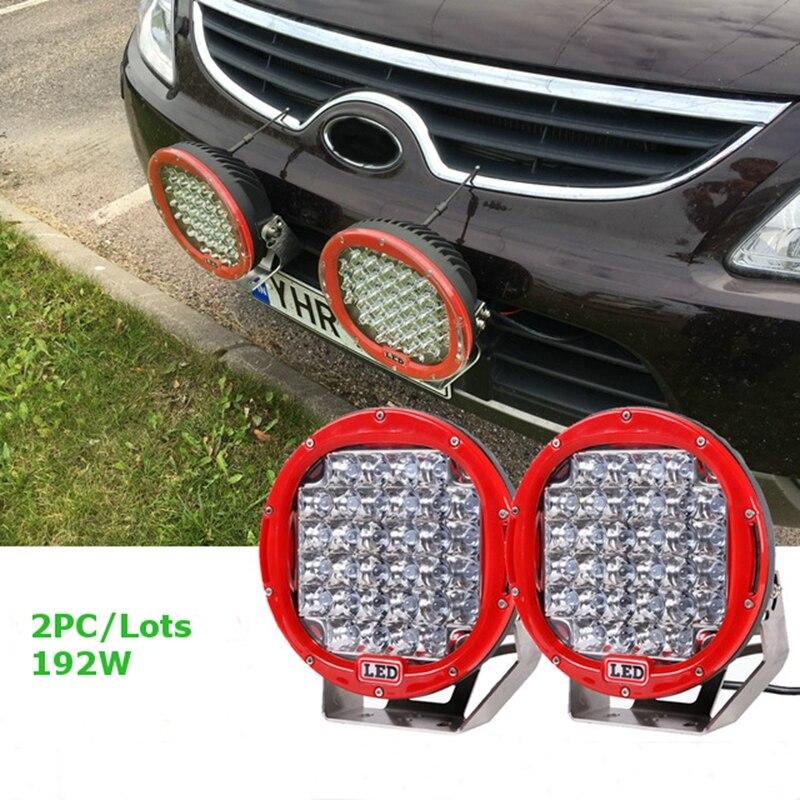 2Pcs 9 inch LED Work Light Bar 96W 192W LED Light Bar 12V 24V Spot For 4WD 4x4 Truck Trailer SUV Offroad Boat ATV Driving light