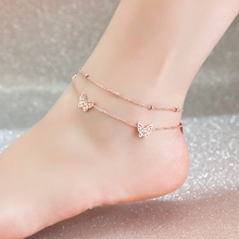 Top Quality 18KGP Rose Titanium Steel Butterfly 2-layer Anklet Women's Fashion Brand Jewelry Free Shipping (GA025)
