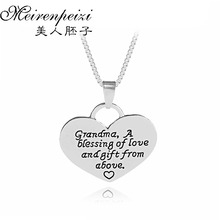 Grandma Pendant Necklace Grandchildren Washer Mom Jewelry Mothers Day Gift Stamped Family Gifts Cherished