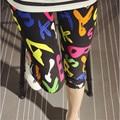 Мульти женщины тонкий jeggings средний-икра длина леггинсы 2016 лето карандаш брюки цветок печати дамы случайные леггинсы KM1608