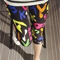 Multi mujeres jeggings mediados de-becerro de longitud leggings 2016 pantalones del lápiz del verano estampado de flores de las señoras ocasionales leggins KM1608