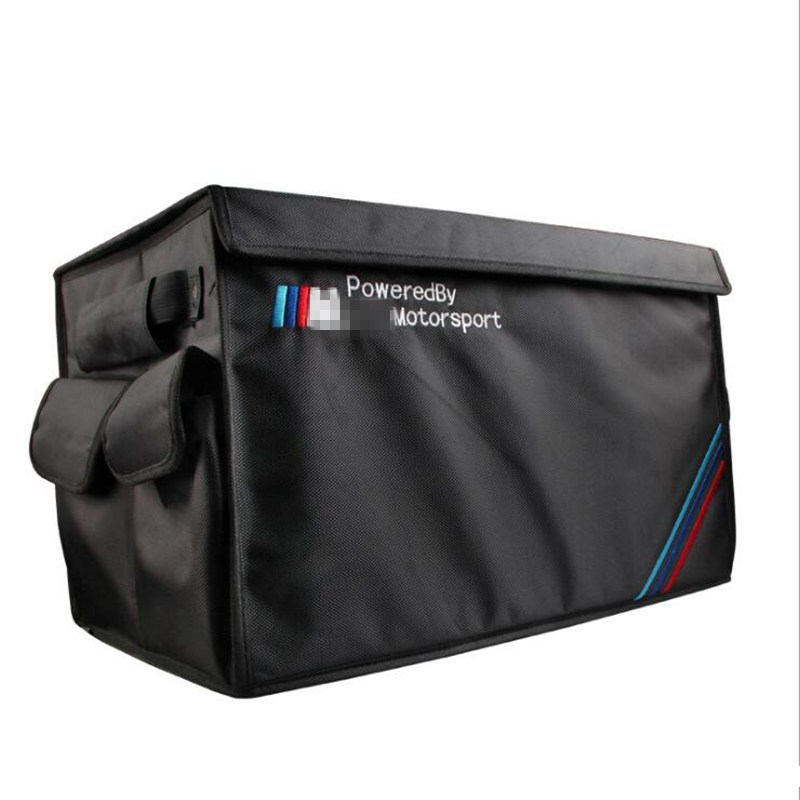 Embroidery Foldable Trunk Storage Organizer Bag Box For BMW M sport Mercedes Benz Land Rover Audi Car Parts Interior Accessories