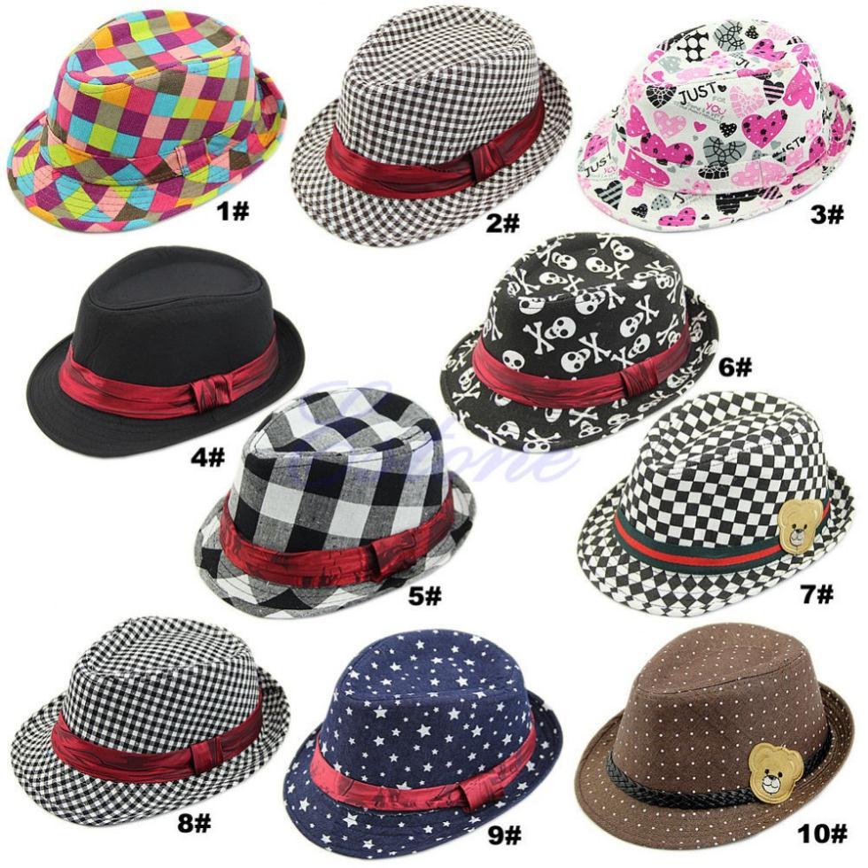 9 Styles Kid Boy Girl Fashion Flat Top Fedora Cap Sun Hat Blues Jazz Dance a84eb4f75b2
