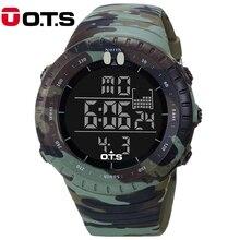 OTS Relógio 5ATM À Prova D' Água Esportes Relógios Digitais dos homens Ao Ar Livre Militar Do Exército Camuflagem Grande Mostrador do relógio de Pulso Relogio masculino