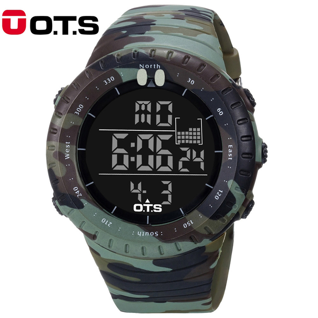 Outdoor 5ATM Waterproof Large Dial Sports Watch Men's Digital Watches Minlitary Army Camouflage Wristwatches Relogio masculino