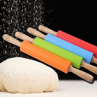 48 cm Dài Kitichen Nấu Nướng Fondant Dán Bánh Pizza Tool Stick Gỗ Xử Lý Thực Phẩm cấp Silicone Lăn Nhạc Rolling Pin