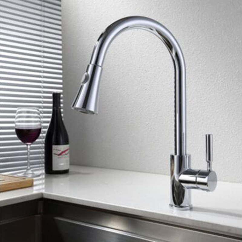 MTTUZK pull out kitchen faucet 360 rotating chrome silver/black ...