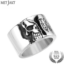 MetJakt Vintage Men's Jewelry Half Face Skull Rings Solid 925 Sterling Silver Ring for Male Biker Hip-hop Jewelry(China)