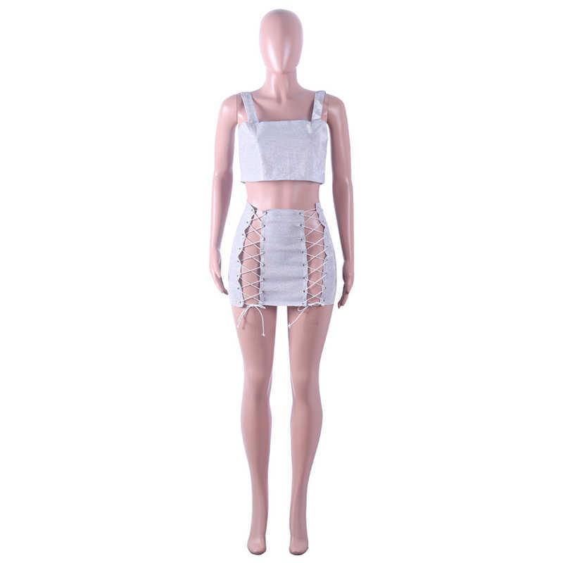 b9b03438b0 ... Sexy Nightclub 2 Piece Sets Women Bandage Matching Set Short Crop Tops  And Skirt Set Lace ...