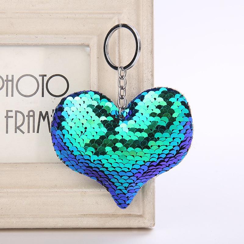 Cute Women Heart Keychain Glitter Sequins Key Ring for Women Handbag Purse Pendants Holder Keyring Porte Clef Llaveros cute cactus keyring for women