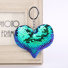 Купить с кэшбэком Cute Women Heart Keychain Glitter Sequins Key Ring for Women Handbag Purse Pendants Holder Keyring Porte Clef Llaveros