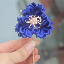 New Design 5pcs/lot Royal Blue 3 Satin Flowers Wedding Boutonniere Groom Gold Brooch Brides Dress Corsage Flower