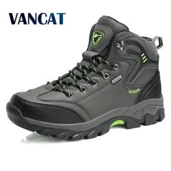 Vancat Brand Men Boots Big Size 39-47 Autumn Winter Mens Leather Fashion Sneakers Lace Up Outdoor Mountain aterproof Men Shoes
