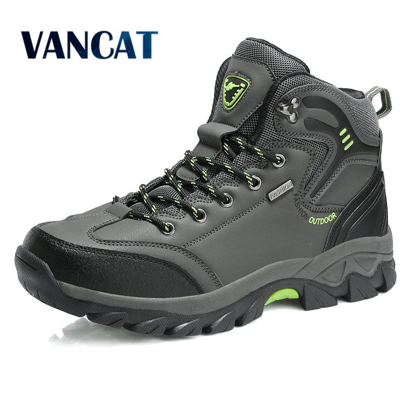 Vancat Brand Men Boots Big Size 39 47 Autumn Winter Mens Leather Fashion Sneakers Lace Up Outdoor Mountain aterproof Men Shoes