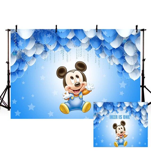 Vinyl Photography Backdrops Sky Blue Balloon Cartoon Mickey Photo Background Custom Children Birthday Party Backdrop Photocall