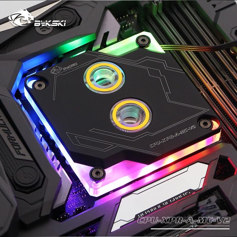 Bykski CPU-XPR-A-MC-V2, pour blocs d'eau Intel Lga115x/2011 CPU, système d'éclairage RBW, bloc de refroidissement par eau de Microwaterway